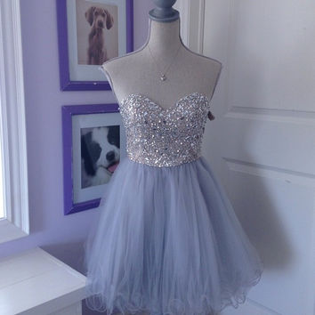 Gray Off Shoulder Crystal Tulle Homecoming Dress, Short Homecoming Dresses