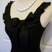 Embellished Tank Top with Black Ruffle and Bow by RaspberryMarket