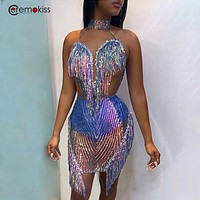 Ceremokiss Sequined Halter Women Dress Lace Tassel Mini Dresses Summer Backless Night Club Party Bodycon Dresses Vestidos