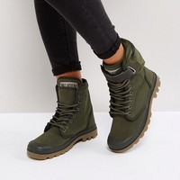 Palladium Solid Ranger Khaki Twill Flat Ankle Boots at asos.com