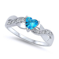 Sterling Silver Rhodium Plated, Heart Light Blue CZ Color Stone Promise Ring 5MM, 7