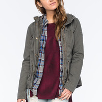 Full Tilt Twill Quilted Womens Anorak Jacket Olive  In Sizes
