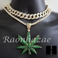 Hip Hop Premium Marijuana Miami Cuban Choker Tennis Chain Necklace N