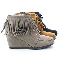 Wig Moccasin Lace Up Hidden High Wedge Heel Fringe Ankle Booties
