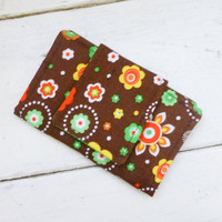 Fabric Wallet, women's wallet, women's gift idea, velcro or snap closure, ready to ship, brown wallet, floral print, cute accessory