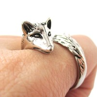 3D Fox Wrapped Around Your Finger Shaped Animal Ring in Shiny Silver | US Size 5 to 9