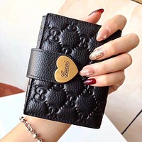 GUCCI High Quality Women Leather Heart Buckle Zipper Wallet Purse