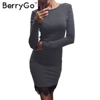 BerryGo Elegant gray christmas bodycon sexy dress Winter evening party long sleeve lace dress Women casual vestidos de fiesta