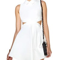 White Sleeveless Collared Dress with Waist Cut-out
