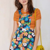 Vintage Flower Power Canvas Shortalls