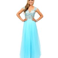 Mint Beaded Cap Sleeve Sweetheart Open Back Tulle Long Gown 2015 Prom Dresses