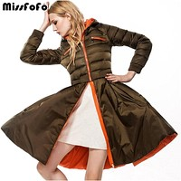 MissFoFo Women Down Coats CLJ Jackets Reversible Double Face Coat Fashion Quality Female Slim Skirt Parka Removable Dress 2 in 1