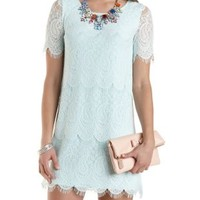 Short Sleeve Lace Shift Dress by Charlotte Russe - Mint