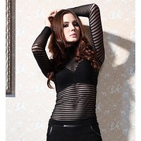 HOT BLACK SEXY PERSPECTIVE TOP SHIRT BLOUSE