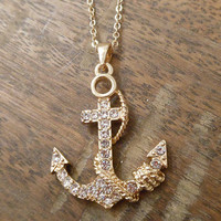 Gold Anchor and Rope Necklace   Candy's Cottage