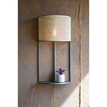 Wall Sconce Light With Rattan Shade & Metal Shelf