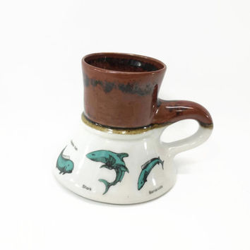 Vintage Bearly Surviving Fish Mug, No Spill/Slip Mug, Ocean Fish, Barracuda, Shark, Dolphin Fish, Merlin, Bluefin Tuna, 80's Coffee Cup