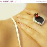 ON SALE 50% off - Onyx Crochet Ring, Black, Handmade, Adjustable, Silver ,Red, Glass Beads