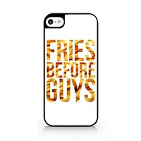 Fries Before Guys - Typo Version - White - Fast Food - French Fries - Sassy Quote - iPhone 6/6S Black Case (C) Andre Gift Shop