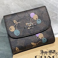 COACH New fashion pattern print leather wallet purse handbag