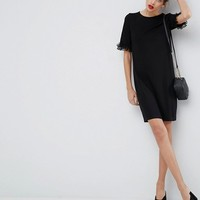 ASOS T-Shirt Dress In Ponte With Lace Frill Sleeve at asos.com