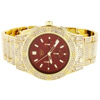 Mens Multi Function Red Face Bling Band Techno Pave Watch