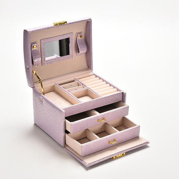 3 Colors Three Layers Jewelry Boxes Makeup Case Jewelry Organizer Carrying Cases with mirror Gifts for Women Girl