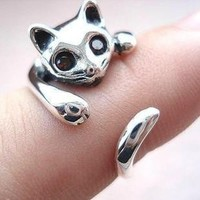 Cute 925 Sterling Silver Cat Ring