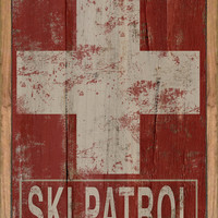 Wooden ski patrol sign framed out in reclaimed wood.  Approx. 14x20x3/4 inches.