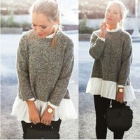 Long Sleeve Loose Cardigan Knitted Sweater Jumper Knitwear White Collar