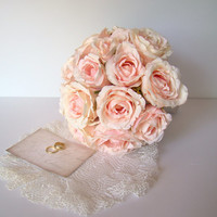 Wedding Bouquet, Blush Pink Rose, Bride's Bouquet, Large Wedding Bouquet, Summer Wedding, Garden, Bridal, Traditional Wedding, Silk Rose