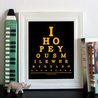 Of Mice And Men Eye Chart, I Hope You Smile When You Look Down On Me, 8 x 10 Giclee Print BUY 2 GET 1 FREE