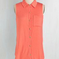 Vintage Inspired Long Button Down Endless Opportunities Top in Coral