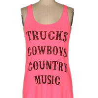 Pink Country Music Tank