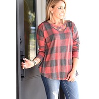 Get Caught Up Plaid Top - Red