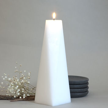 """White Pillar Candle Octagon 9"""" tall"""