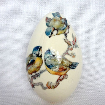 Goose White Egg with Decoupage, Hand Decorated Painted Easter Egg