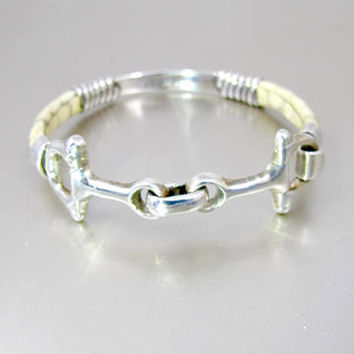 Snaffle Horse Bit Bracelet. Sterling Silver Leather Hinged Horse Bit Bangle Bracelet. Vintage Taxco Mexico Equestrian Jewelry