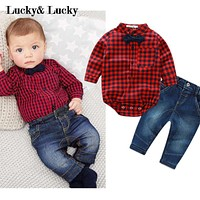 Red plaid rompers shirts+jeans baby boys clothes