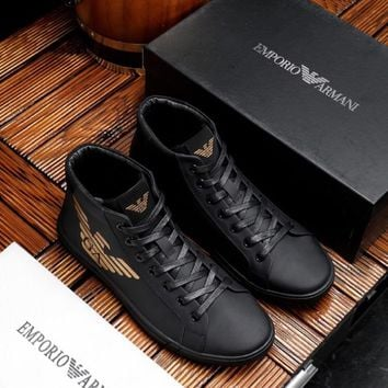 Armani Men's Leather Fashion High Top Sneakers Shoes
