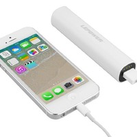 LEPOWER 2600 mAh Colorful Mini USB Portable Power Bank Charger / Backup Mobile External Battery Charger for iPhone 6 6plus 5 5S 5C and other USB-charged devices (8 pin cable/ lightning cable is not included) (White)