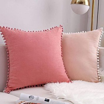 Pom Poms Trim Pillow Case Set