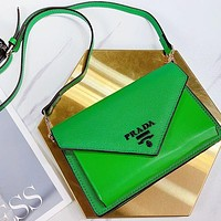 Prada Handbag Crossbody Bag Shoulder Bag Cross Pattern Leather Bag Green