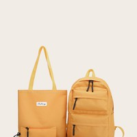Double Pocket Front Backpack With Pencil Case 4pcs