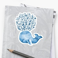 'Cute Watercolor Whale' Sticker by noondaydesign