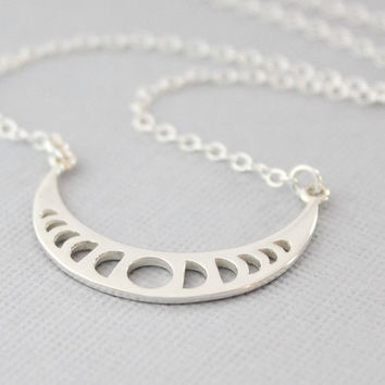 Moon Phases Necklace, Sterling Silver Moon Necklace, Moon Jewelry, Moon Phases Pendant, Celestial Jewelry, Lunar Necklace, Astronomy