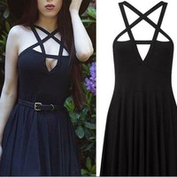 Fashion Women Dress Gothic Vintage Romantic Casual Dress Without Belt