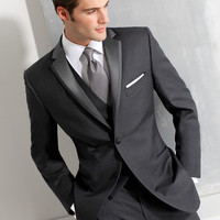 Custom made Size and Color Two Buttons Groom Tuxedos Gray Groomsman/Bridegroom Wedding Suit ( jacket+Pants+vest+tie)