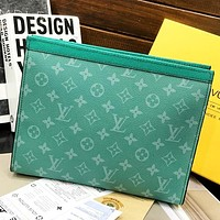 Inseva LV Louis Vuitton New fashion monogram leather couple cosmetic Bag handbag file package Green