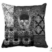 Shabby Chic Skull throw pillow